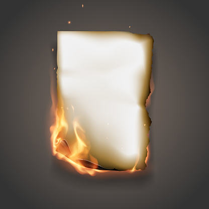 Realistic burning paper in vector