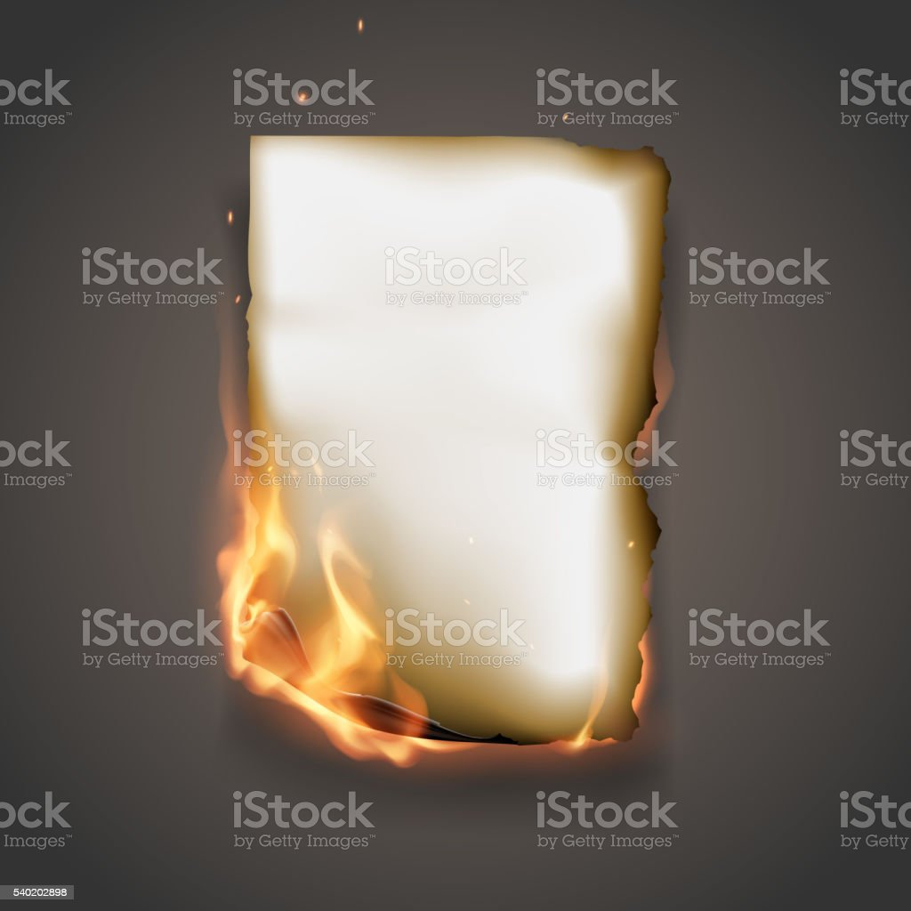 Burning paper vector art illustration