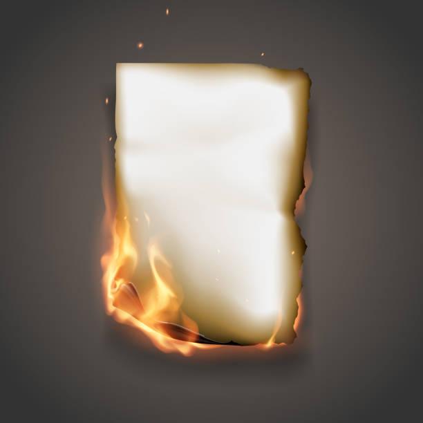 Burning paper Realistic burning paper in vector burning stock illustrations
