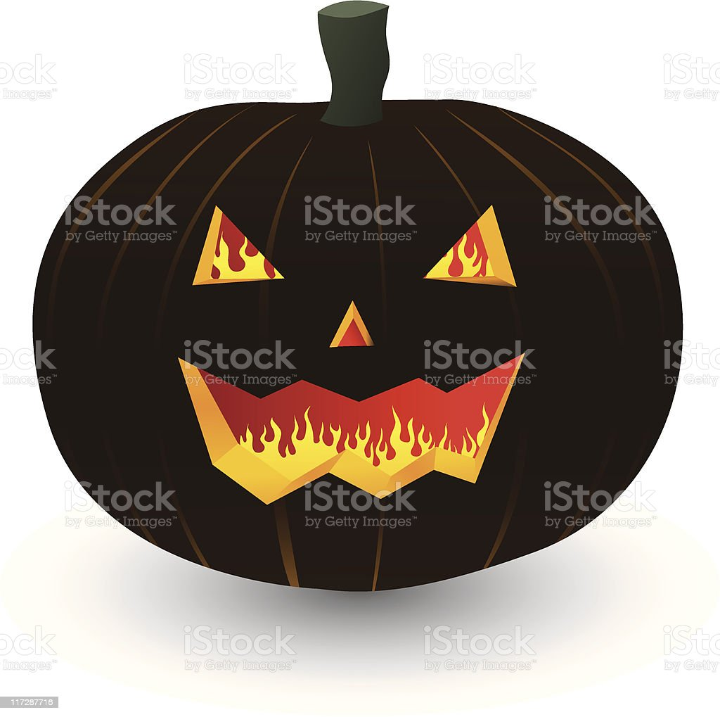 burning pumpkin vector art illustration