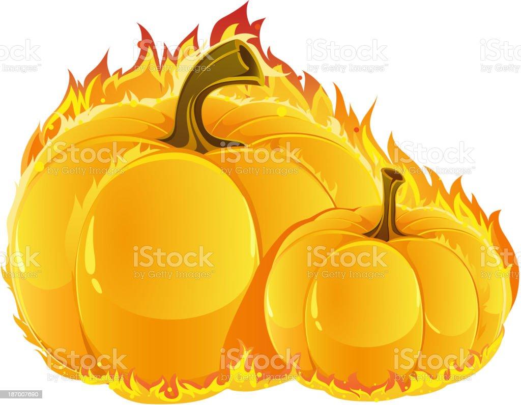 Burning pumpkins royalty-free stock vector art