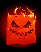 Burning scary red paper bag