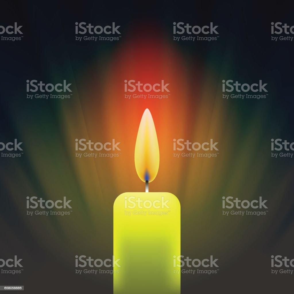 Burning Single Yellow Candle vector art illustration
