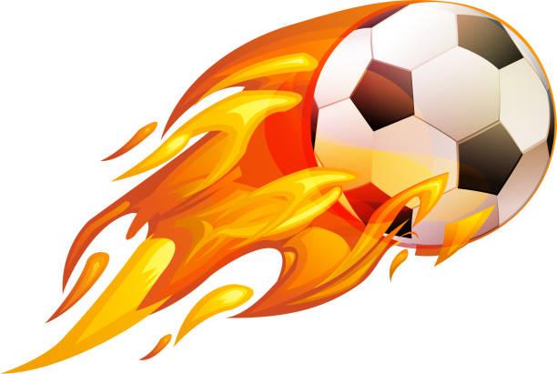 bildbanksillustrationer, clip art samt tecknat material och ikoner med brinnande fotboll - illustration - fotboll eld