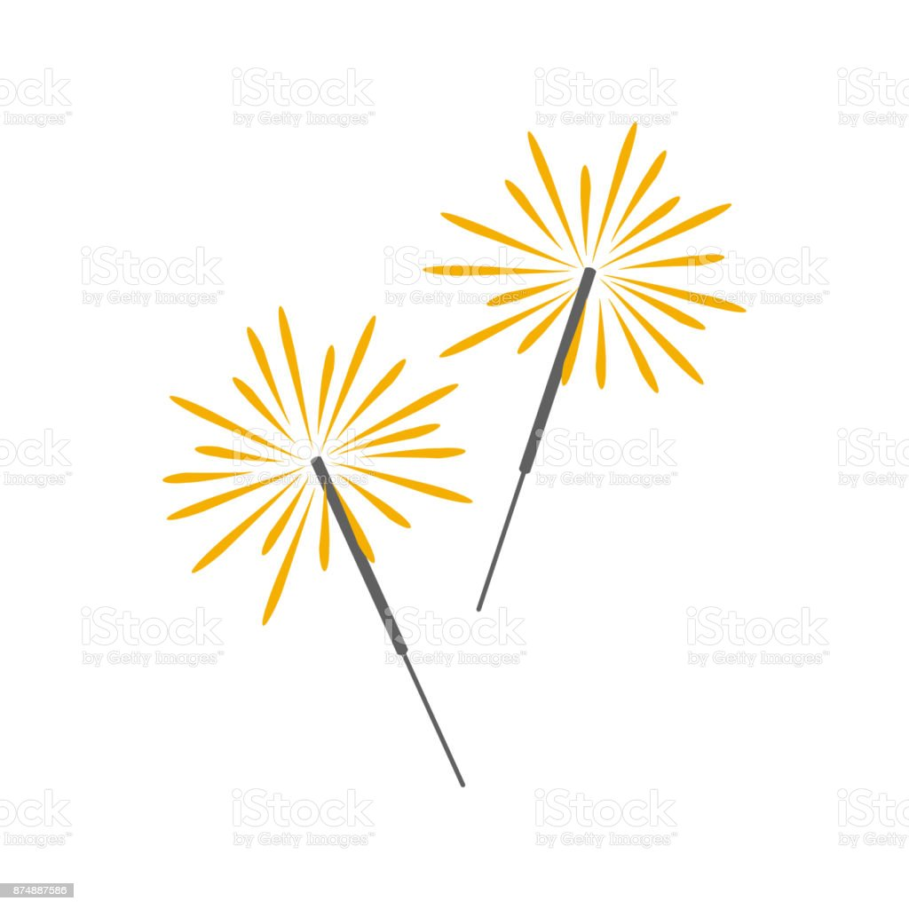 Burning sparklers. vector art illustration