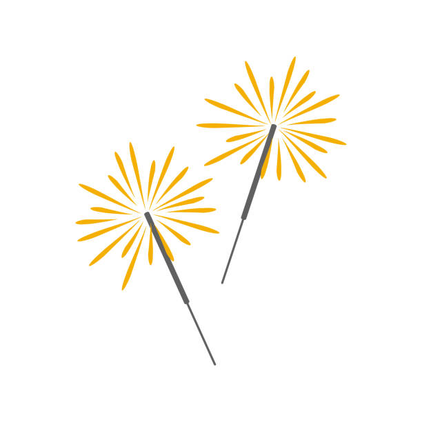 Burning sparklers. Cartoon icon. Isolated object on white background. Vector illustration. sparkler stock illustrations
