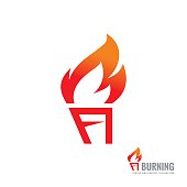 Burning torch - vector sign template concept illustration. Fire flame creative sign. Design element.