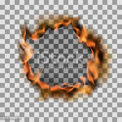 Burning torn hole in paper sheet. Vector illustration on transparent background