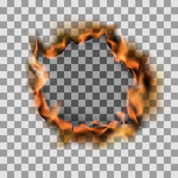 brennendes loch in papierblech. vektordarstellung auf transparentem hintergrund - feuer stock-grafiken, -clipart, -cartoons und -symbole