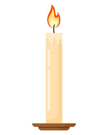 Burning Wax Candle Flat Style Vector Illustration