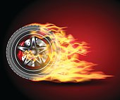 Racing hot wheels. Burning wheel tire isolated on black background. Vector illustration