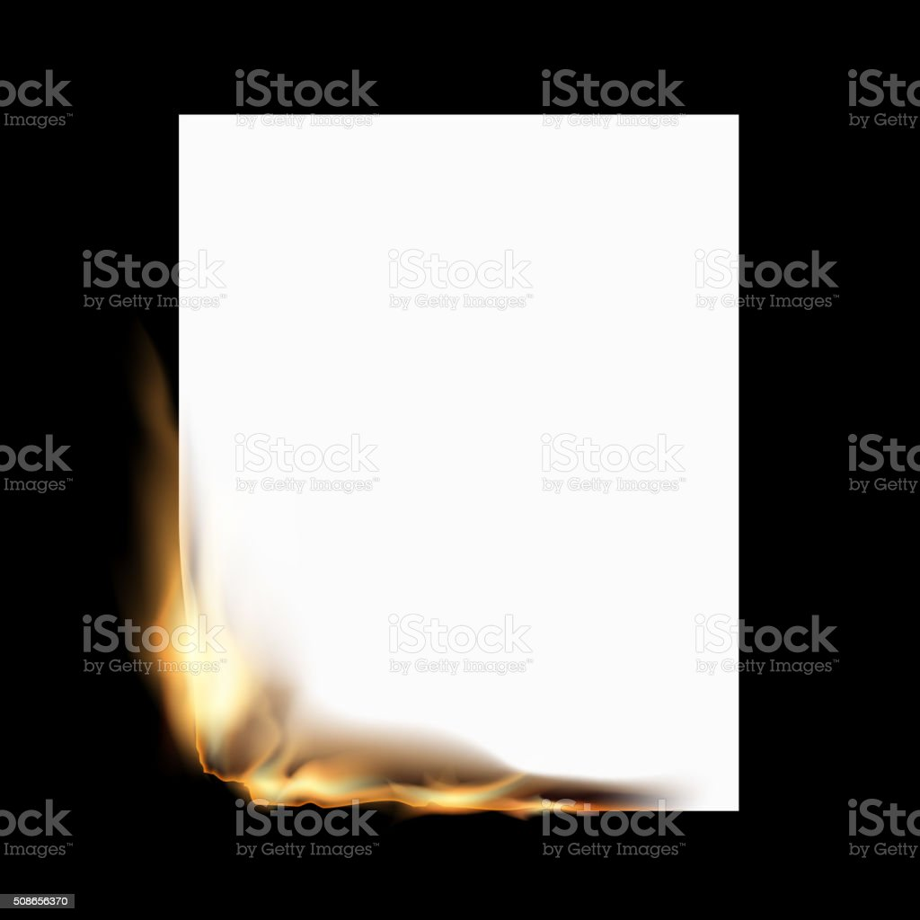 Burning white sheet vector art illustration