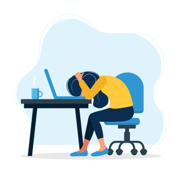 Burnout concept illustration with exhausted female office worker sitting at the table. Frustrated worker, mental health problems. Vector illustration in flat style vector illustration in flat style tired woman stock illustrations