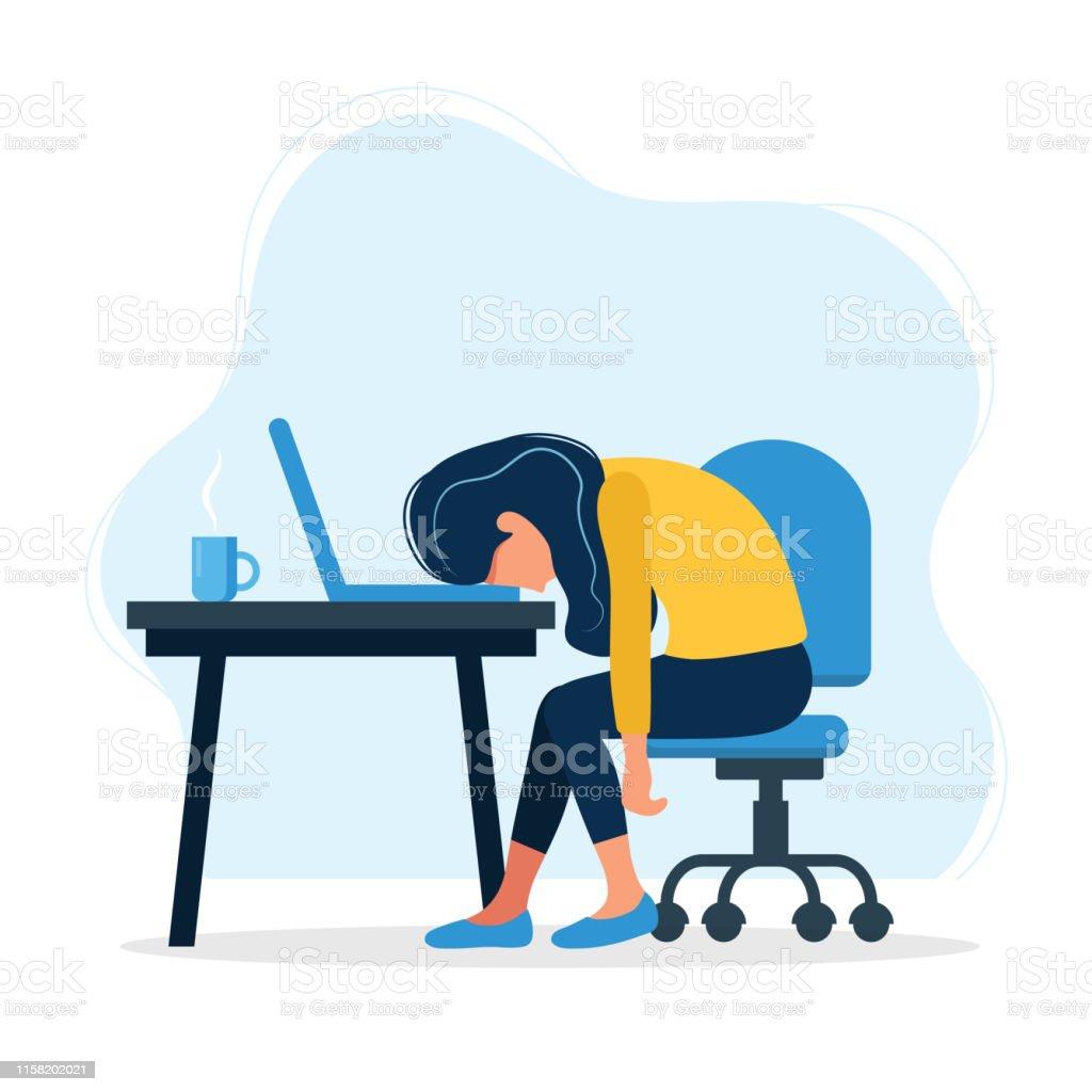 Burnout koncept illustration med utmattad kvinnlig kontors arbetare sittande vid bordet. Frustrerad arbets tagare, psykiska hälso problem. Vektor illustration i platt stil - Royaltyfri Affärsman vektorgrafik