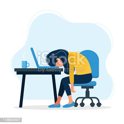 istock Burnout concept illustration with exhausted female office worker sitting at the table. Frustrated worker, mental health problems. Vector illustration in flat style 1158202021