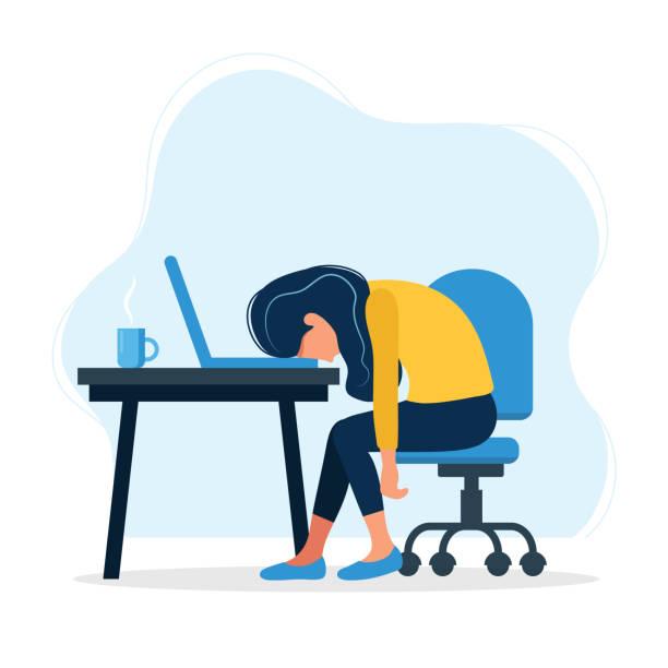 ilustrações, clipart, desenhos animados e ícones de ilustração do conceito de burnout com o trabalhador de escritório fêmea esgotado que senta-se na tabela. trabalhador frustrado, problemas de saúde mental. ilustração do vetor no estilo liso - carteira