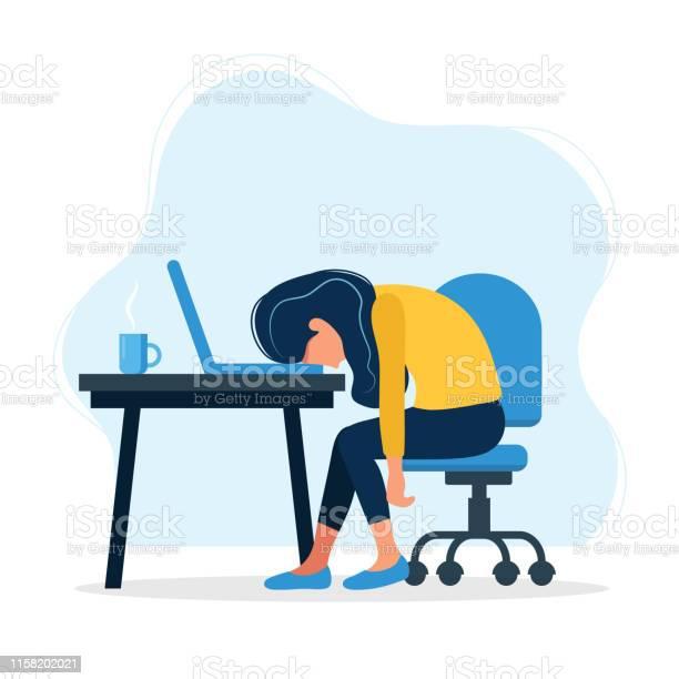 Burnout Koncept Illustration Med Utmattad Kvinnlig Kontors Arbetare Sittande Vid Bordet Frustrerad Arbets Tagare Psykiska Hälso Problem Vektor Illustration I Platt Stil-vektorgrafik och fler bilder på Affärsman