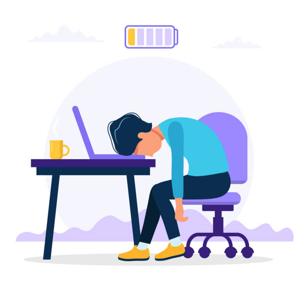 Burnout concept illustration with exhausted male office worker sitting at the table with low battery. Frustrated worker, mental health problems. Vector illustration in flat style Vector illustration in flat style mental burnout stock illustrations