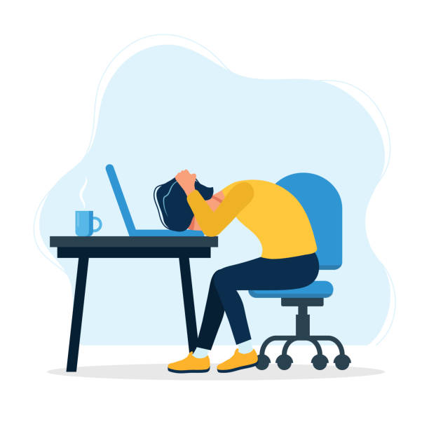 Burnout concept illustration with exhausted man office worker sitting at the table. Frustrated worker, mental health problems. Vector illustration in flat style vector illustration in flat style mental burnout stock illustrations