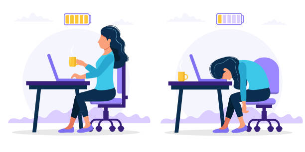 Burnout concept illustration with happy and exhausted female office worker sitting at the table with full and low battery. Frustrated worker, mental health problems. Vector illustration in flat style Vector illustration in flat style mental burnout stock illustrations
