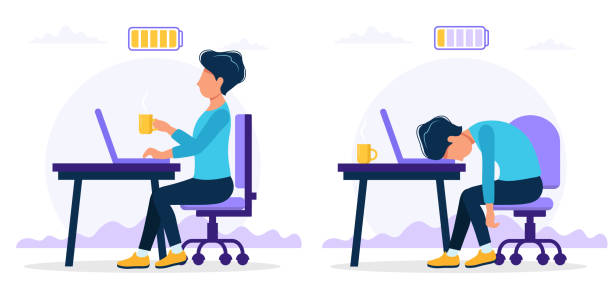Burnout concept illustration with happy and exhausted male office worker sitting at the table with full and low battery. Frustrated worker, mental health problems. Vector illustration in flat style vector art illustration