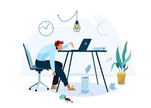 Burnout concept vector background. Tired male office worker sitting on the chair and trying work at the computer. Business flat cartoon illustration isolated on white backdrop