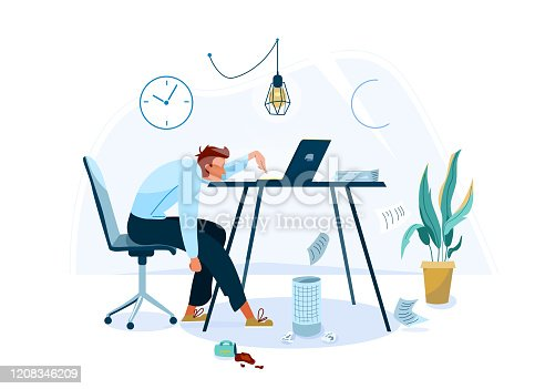 istock Burnout concept vector background. Tired male office worker sitting on the chair and trying work at the computer. Business flat cartoon illustration isolated on white backdrop 1208346209