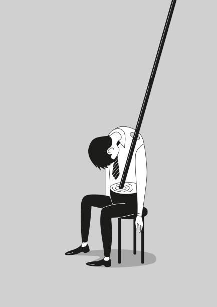 Burnout drunk overworked employee or businessman poster vector art illustration
