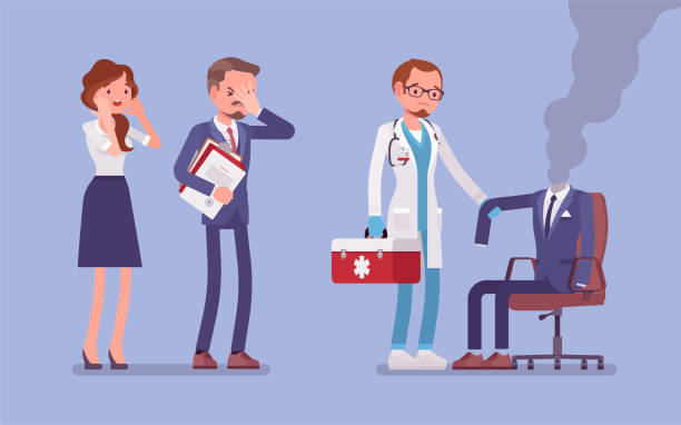Burnout office worker and a doctor Burnout office worker and a doctor. Employee empty suit, metaphor of a man in exhaustion, lost his physical, emotional strength and motivation, stress and frustration at workplace. Vector illustration mental burnout stock illustrations