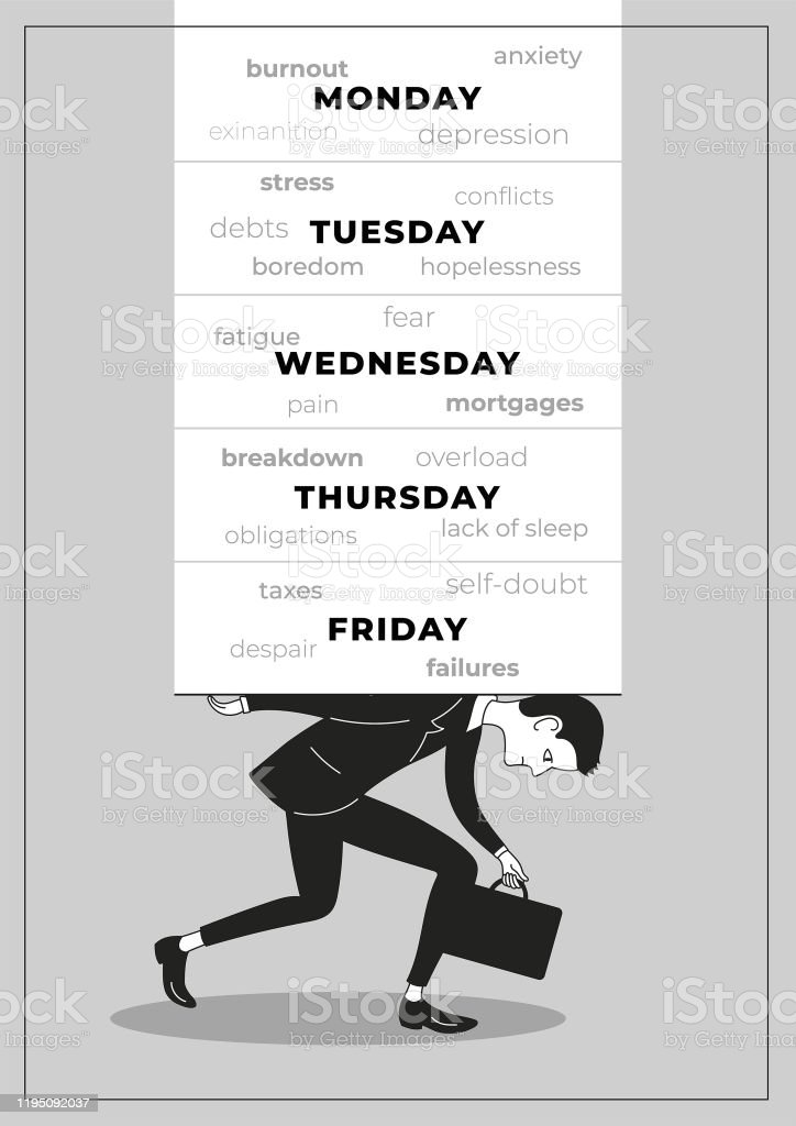 Burnout overworked employee or businessman carrying the heavy load - Royalty-free Adult stock vector