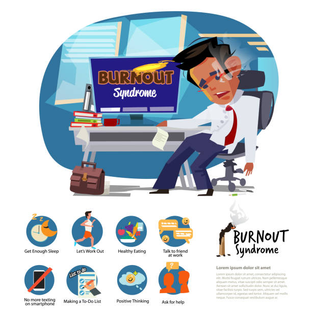 Burnout Syndeome man at work. how to fight burningout syndrome. infographic elements  - vector Burnout Syndeome man at work. how to fight burningout syndrome. infographic elements  - vector illustration mental burnout stock illustrations