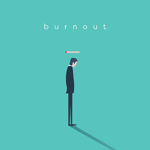 Burnout syndrome concept with a businessman without energy at work Burnout syndrome concept with a businessman without energy at work. Business vector abstract. Eps10 vector illustration. mental burnout stock illustrations