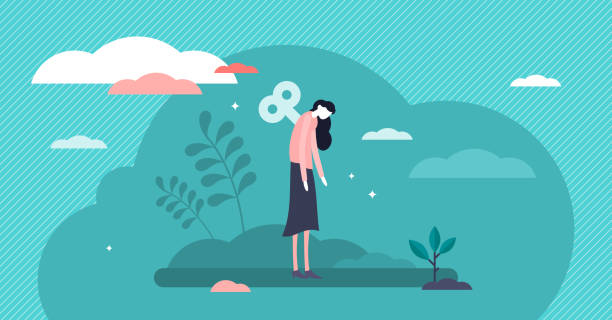 tükenmişlik vektör illüstrasyon. düşük enerji yorgunluğu anne küçük kişiler kavramı - burnout stock illustrations