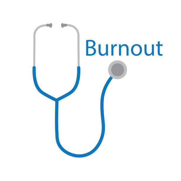 burnout word and stethoscope icon burnout word and stethoscope icon- vector illustration mental burnout stock illustrations