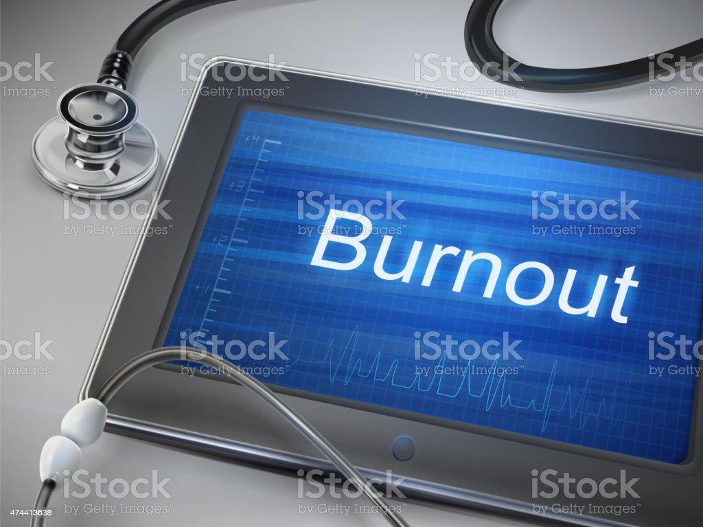 burnout word display on tablet vector art illustration