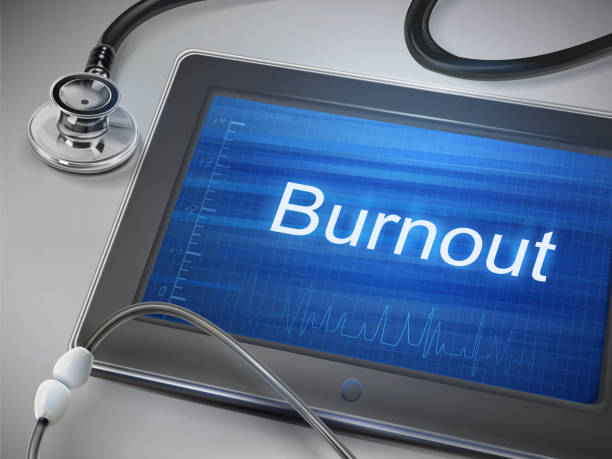 burnout word display on tablet burnout word display on tablet over table mental burnout stock illustrations