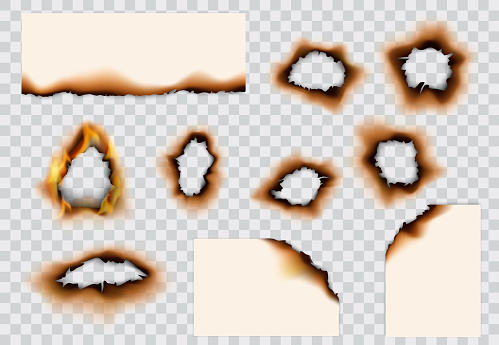 Burnt paper hole, page edges and corners. 3d vector with realistic fire flames, ashes and brown burns. Destroyed paper or parchment with cracked and dirty borders on transparent background