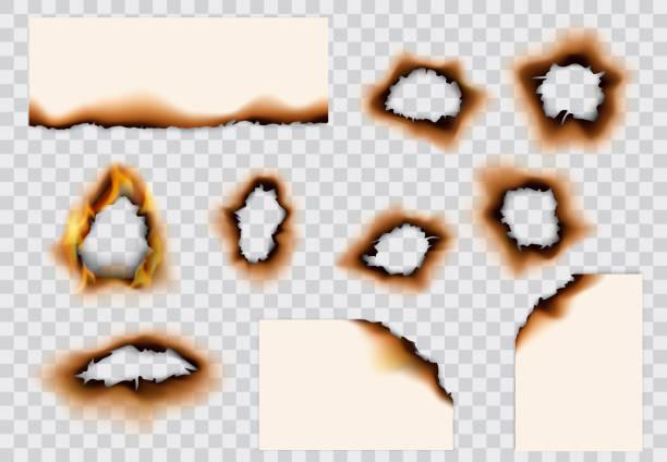ilustrações de stock, clip art, desenhos animados e ícones de burnt holes and edges of paper pages - queimado