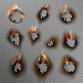 Burnt holes. Scorched paper hole flame burn edge ash brown effect fire cracked dirty edge burned hole set, realistic vector clipart illustrations