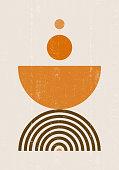 istock Burnt orange Sun print boho minimalist printable wall art 1268438815