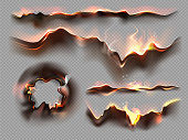 Burnt paper edges with black ash. Realistic set of borders and frames from scorched and smoldering paper sheets. Banner burning frames. Vector illustration