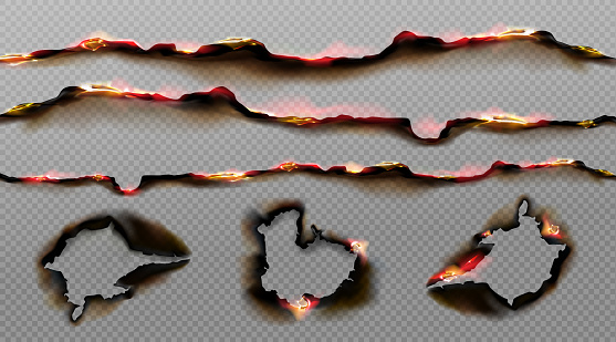 Burnt paper edges with fire and black ash. Vector realistic set of borders and frames from scorched and smoldering paper sheets white torn edges and holes isolated on transparent background