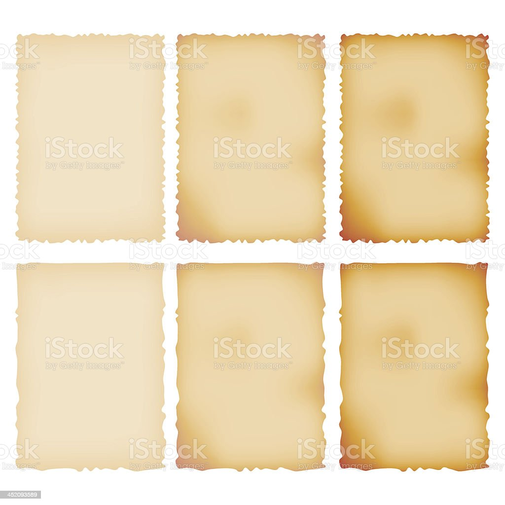 Burnt Paper Set. Torn Border. Isolated On White vector art illustration