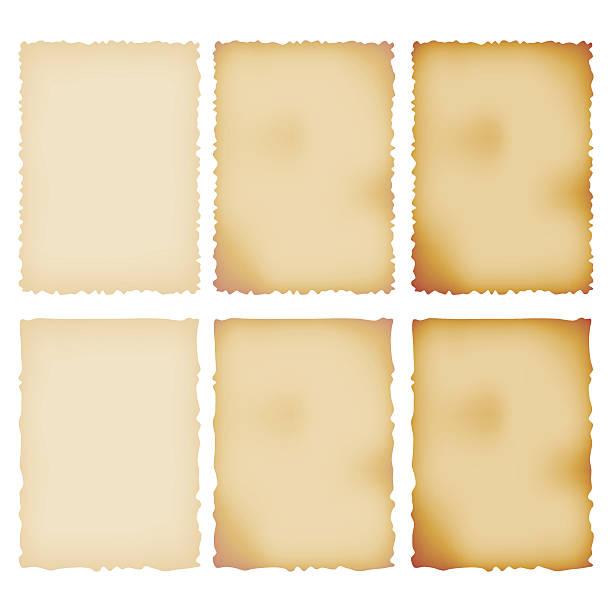 Burnt Paper Set. Torn Border. Isolated On White vector art illustration