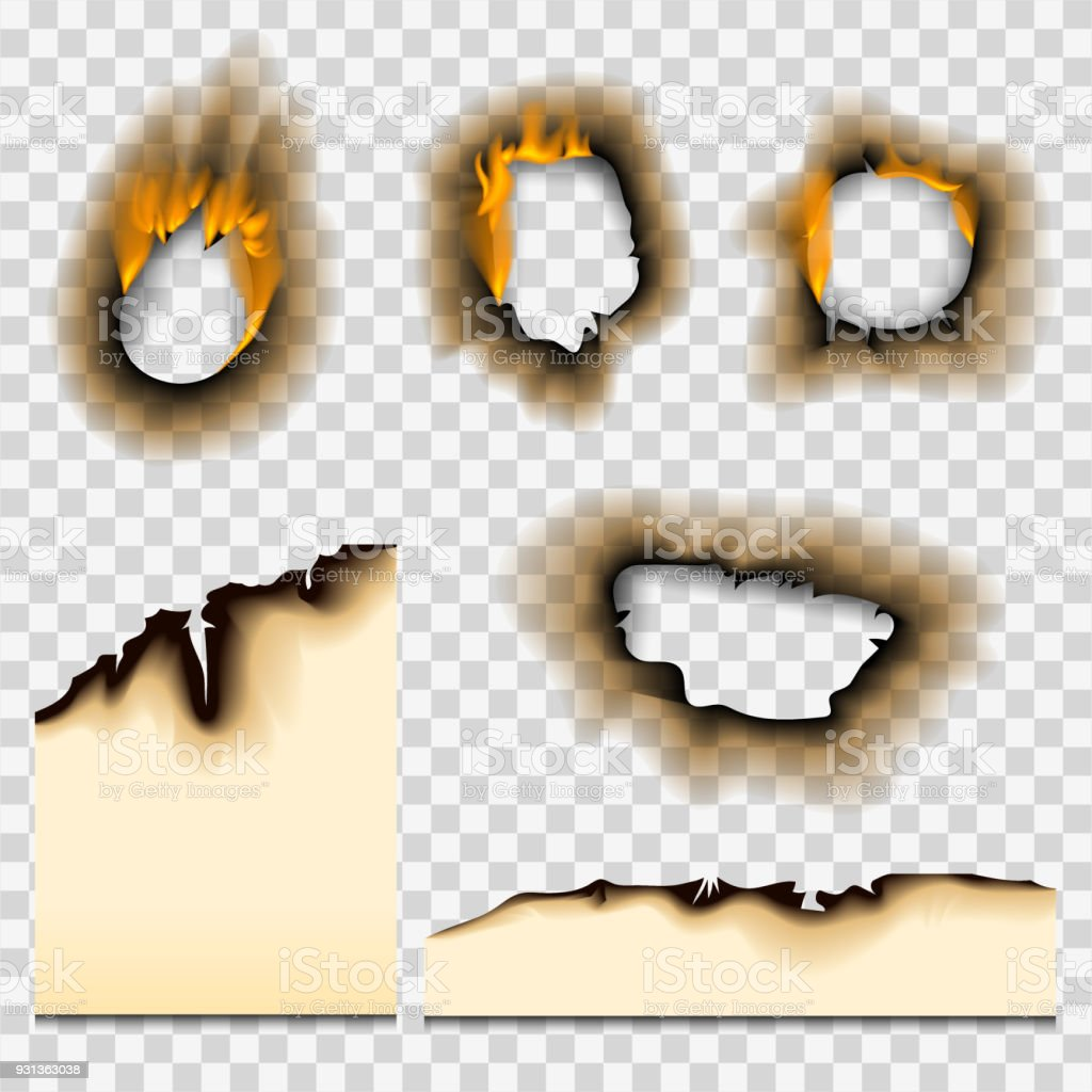 Burnt piece burned faded paper hole realistic fire flame isolated page sheet torn ash vector illustration vector art illustration