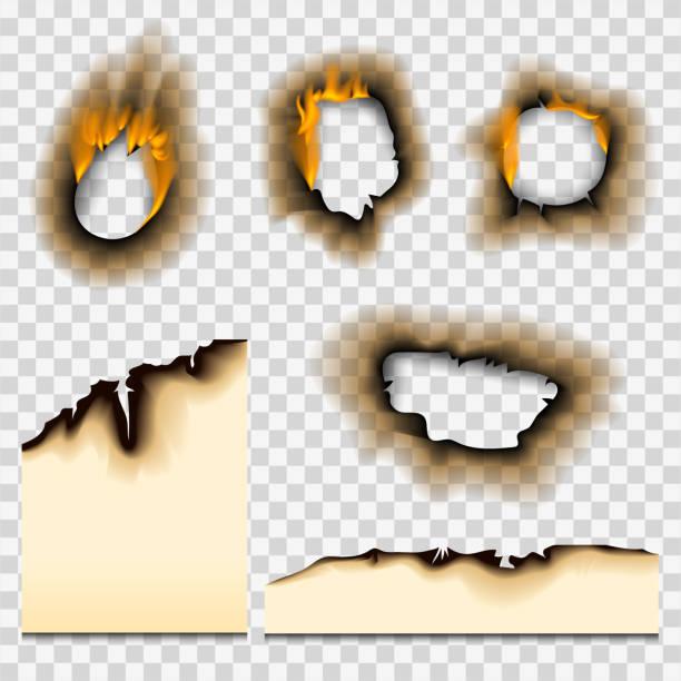 bildbanksillustrationer, clip art samt tecknat material och ikoner med brända bit brände bleka papper hål realistisk eld flamma isolerade sida ark slits aska vektorillustration - hål
