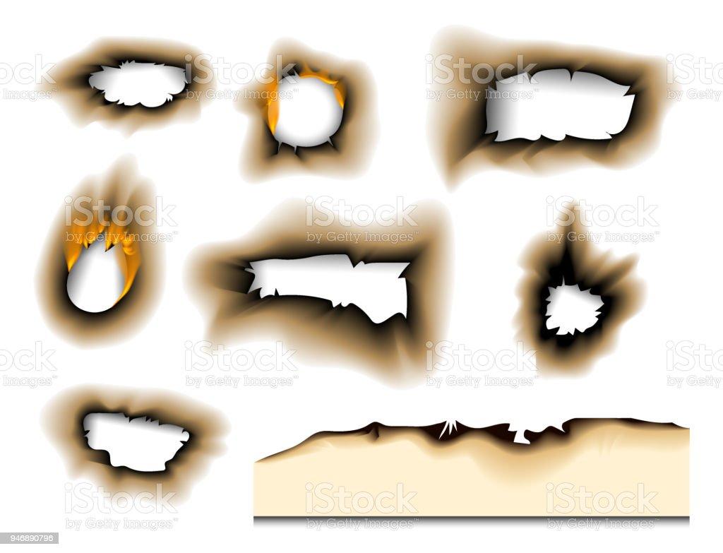 焦げた部分を燃やした色あせた紙穴リアルな火災炎分離破れたシート灰