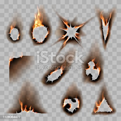 Burnt scorched paper hole in vector
