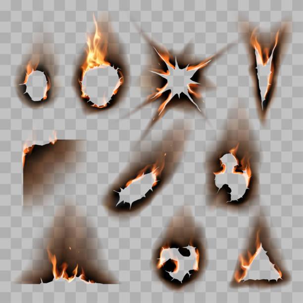 ilustrações de stock, clip art, desenhos animados e ícones de burnt scorched paper hole - queimado