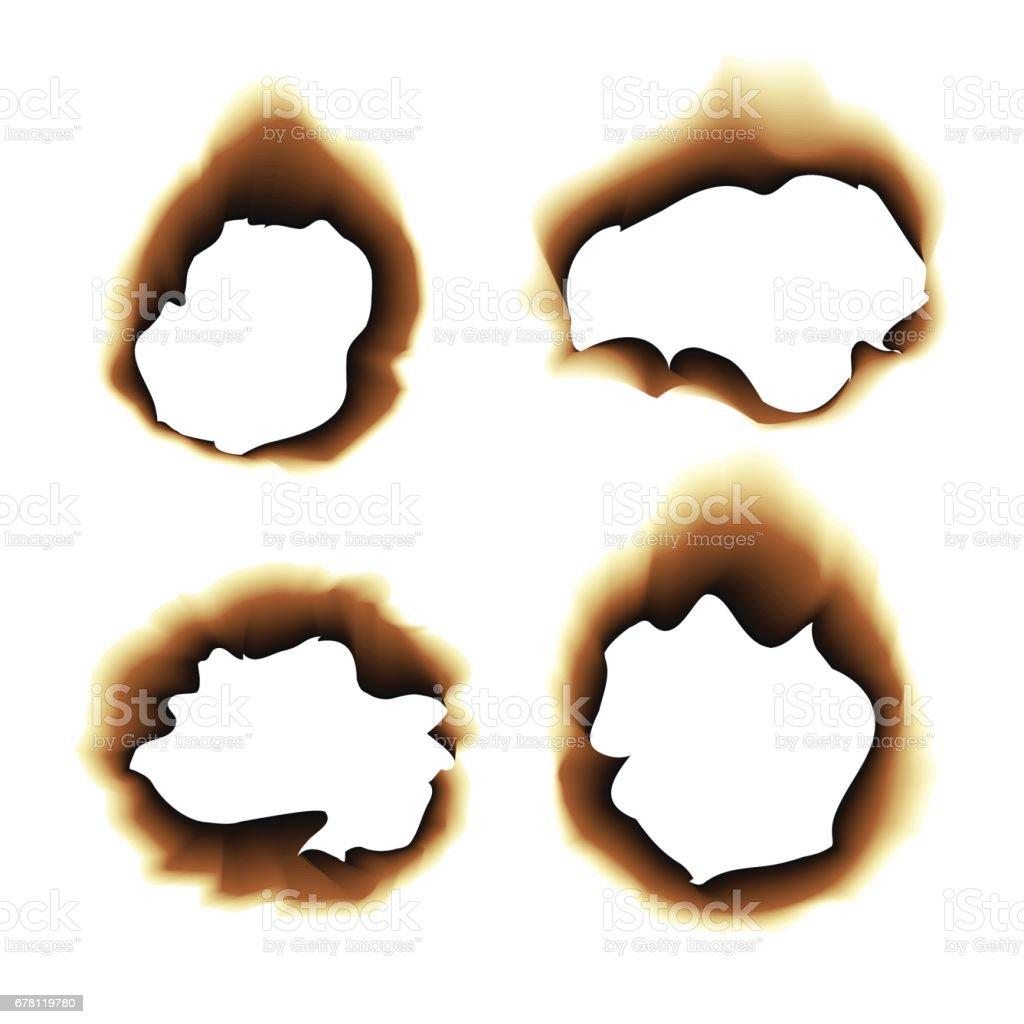白い背景の焦げた紙穴ベクトル図を燃やした アイコンのベクターアート